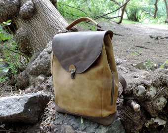 Leather Women backpack handmade travel rucksack brown distressed leather school laptop backpack bags unisex backpack Leather satchel