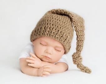 Pixie hat, night cap, baby, crochet, newborn photo Hat photo prop, baby bonnet, beanie baby, crochet, baby photo