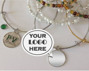 Custom Logo Jewelry, School Mascot, Company, Cheer, Sorority, Dance, Fundraiser Event, Personalized, Custom Logo Bracelets