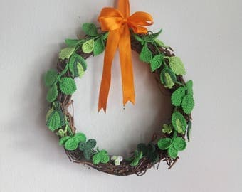 Spring Rustic Wreath Crochet Easter Wall Decor St. Patrick's Day Wreath Birch Branches Natural Material Home Decor Crochet Leaves Wreath