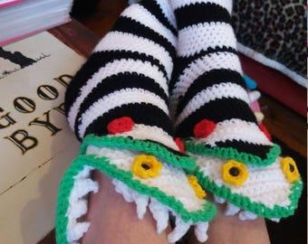 beetlejuice sand worm slipper socks unusual geeky quirky gift idea crochet handmade tim burton