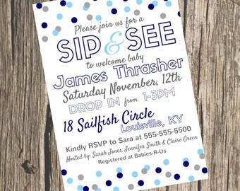 Sip & See Baby Shower Invitation- Baby Boy