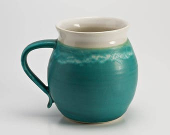 Hand Thrown Stoneware Aqua Mug Coffee Cup Large