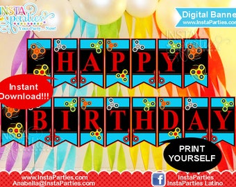 Fidget Spinner Banner Happy Birthday digital instant download / fidget spinners party supplies / Happy birthday banner fidgety hand spinners