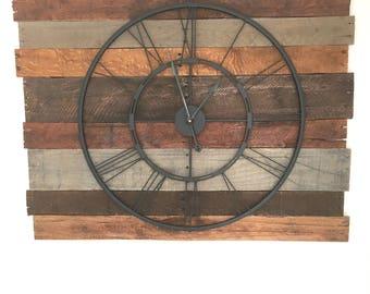 Wooden Wall Clock, Modern Farmhouse Decor, Rustic Clock, Reclaimed Clock, Farmhouse Clock, Pallet Wood Clock, Clock, Wall Clock