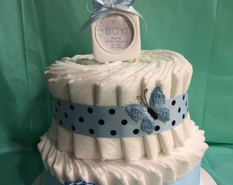 "Adorable ""Just Diapers"" Diaper Cake!"