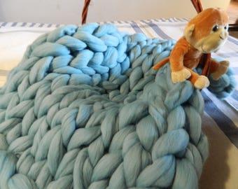 Chunky Merino Blanket. Newborn Wool Blanket. Baby Shower Gift. Nursery Knit Blanket. Photo Prop. Baby Photo Props. Arm Knit Rug. Pet Rug.