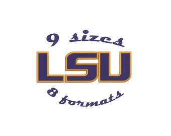 9 Sizes Louisiana State University Tigers LSU Inspired Machine Embroidery Designs in 8 formats and 9 sizes