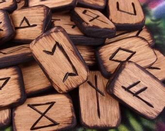 Elder Futhark Rune Set, Wood Runes, Norse runes, viking runes, wiccan runes, divination tools, aett, norse mythology, rune set, hand carved
