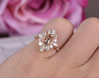 6x8mm Oval Cut Semi-Mount Engagement ring/14k Rose gold/Halo marquise stackable/Bridal Wedding ring/Vintage/Prong set/Half Eternity Band/