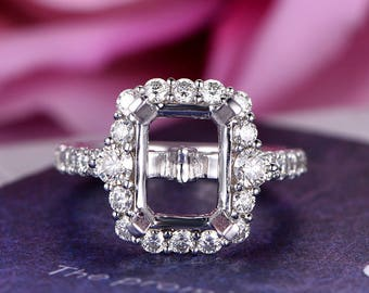 7x9mm Emerald Cut Semi Mount Engagement Ring 14k White Gold Halo Stackable