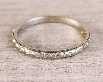 18k white gold patterned vintage band