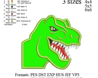 Scary T-rex Dinosaur face Applique Embroidery Design,Dinosaur embroidery pattern No 578 ... 3 sizes