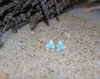 Ceramic Hearts turquoise earrings