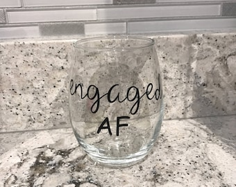 Engaged stemless wine glass
