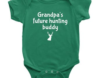 Cute Baby One-piece - Baby Shirt For Future Hunter - Grandpa's Future Hunting Buddy - Baby Shower Gift - Newborn Through 24 months Sizes