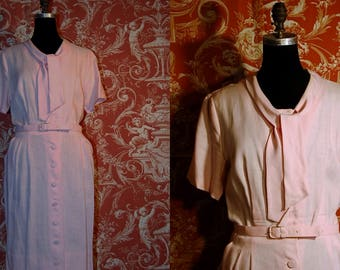 1950's size 20.5 irish light pink linen button front dress Tailor Town, ILGWU tag