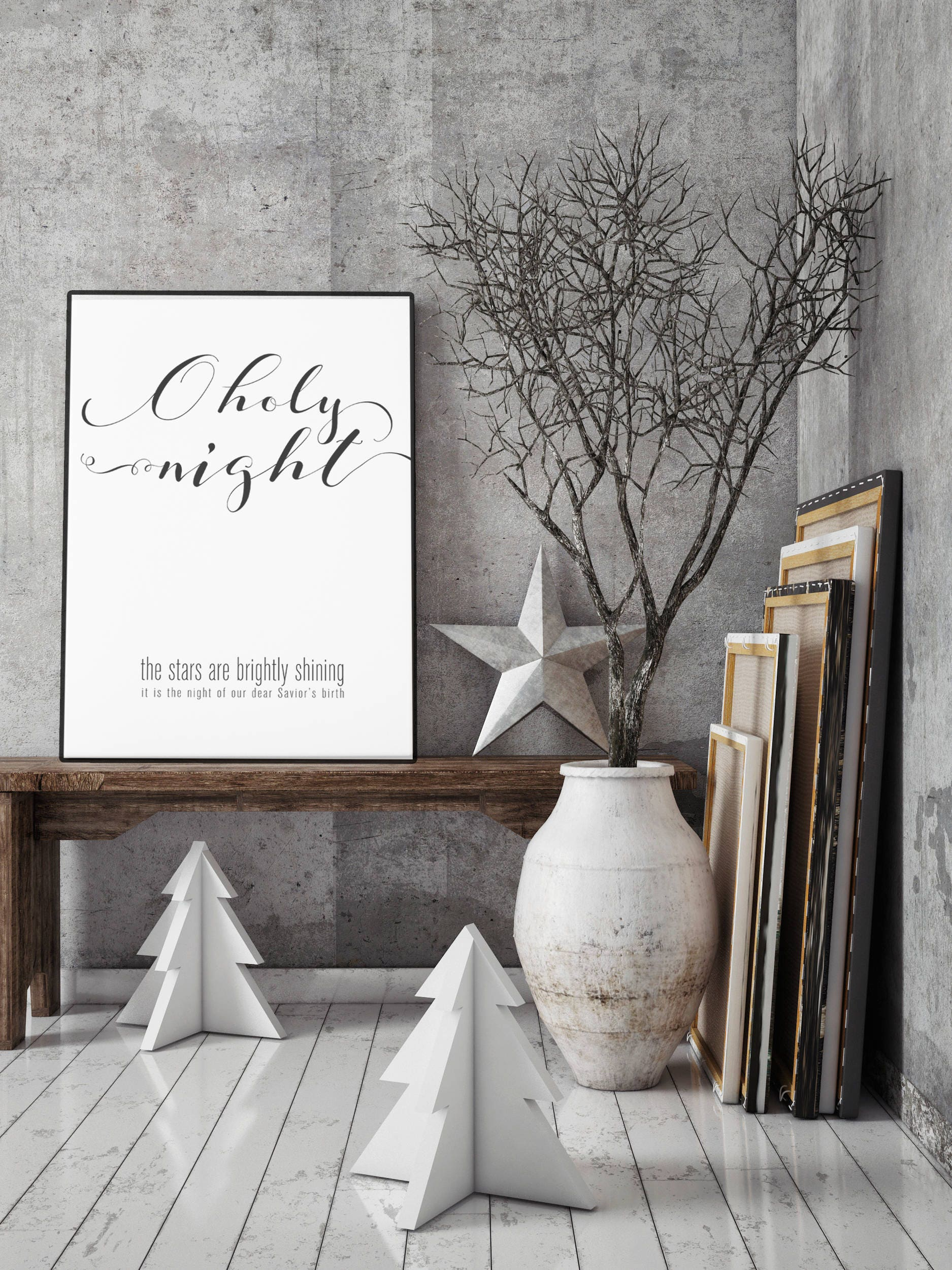 O holy night modern christmas decor print for O holy night decorations