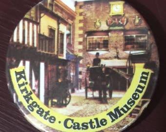 Vintage Kirkgate castle museum pin back button