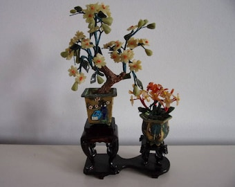 Chinese flower decoration in hardstone 1970 's