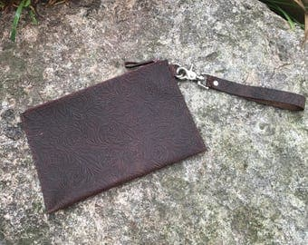 Clutch Wristlet Embossed Botanical Brown Leather
