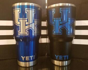 Custom No Decals! University of Kentucky Wildcats UK 30 oz. Yeti Rambler Custom the way You Want It!