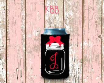 Mason Jar Can Cooler, Personalized Can Cooler, Monogrammed Can Cooler, Custom Can Cooler