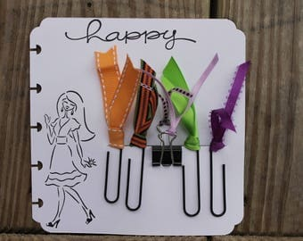 Planner Clips, Planner accessories, Happy Planner clips,  HALLOWEEN, Diary accessories, Ribbon Planner Clip, journaling, SET of 5