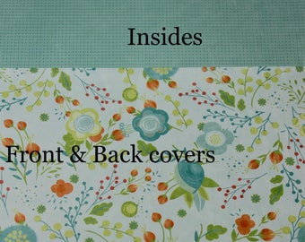 Blossom teal flowers Cover Custom, Happy planner cover, ARC cover, Discbound, Any size, custom planner cover-teal flowers