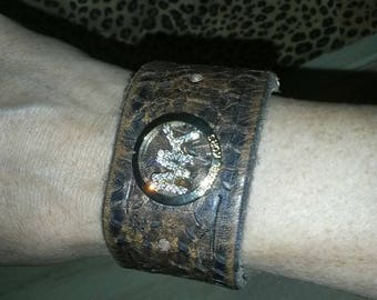 Genuine leather Michael Kors inspired cuff bracelet