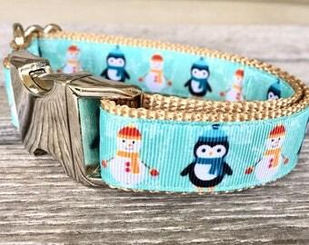 "Frosty & Penguin 1"" Wide Dog Collar, Christmas Collar and Leash, Winter Friends Dog Collar, Snowman Dog Collar, Silver Hardware"