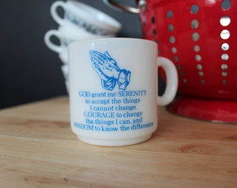Serenity Prayer Milk Glass Mug