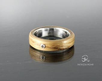 Bentwood ring oak, wood ring, silver ring