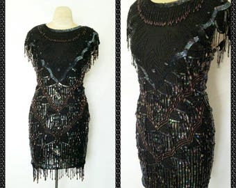 Fully Loaded Dazzling Shimmery Black Sequins Flapper 1920's styled Dress Size 10