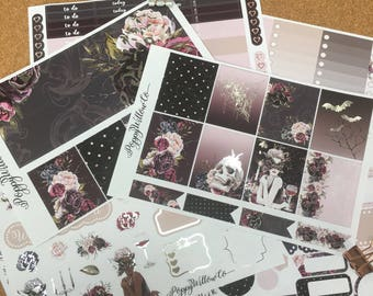 Fatale Silver Foiled ERIN CONDREN VERTICAL Weekly Decorative Sticker Set