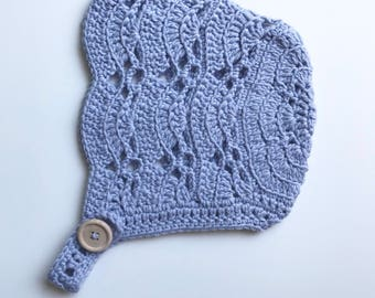 MABEL // hand crocheted baby bonnet - ready to ship