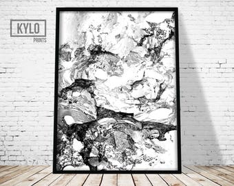 Marble Print, Scandinavian Print, Digital Print, Abstract Poster, Printable Art, Home Decor, Marble Art, Wall Art, Black and White, Office