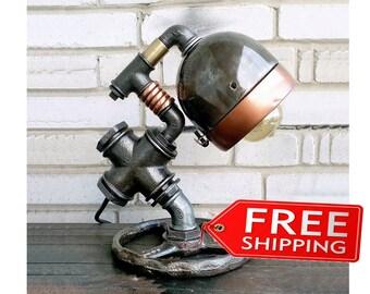 Industrial Lighting Steampunk Lamp Etsy gifts Edison Light Vintage Light Pipe Lamp Bedside Lamp Rustic Lighting Loft light Metal table lamps