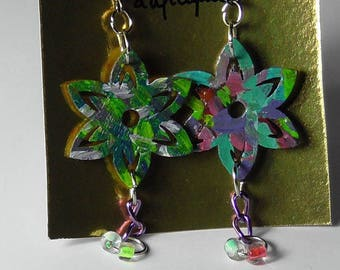 Wooden painted Flower Earrings