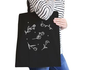 Icon Floral Pattern Cute Stylish Trendy Graphic Printed Natural/Black Canvas Tote Bag