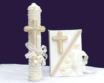 Baptism/Christening Candle Set: Ivory Cross