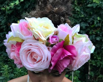 Ruby Rose Flower Crown. Bridal Floral Headdress in Soft Pinks & Cream tones. Wedding Headband