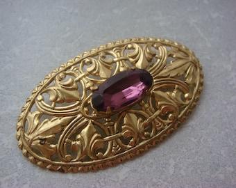 Ornate Vintage Brooch with Purple Rhinestone