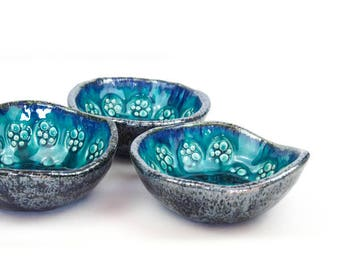 Serving bowls, set of bowls, turquoise bowls, handmade pottery, weeding gift, handmade bowl, ceramic bowls, pottery handmade, set of 3 bowls