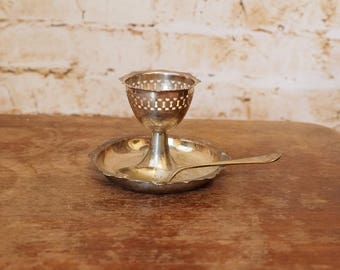 Unusual 1950s Pedestal Egg Cup and Spoon Set