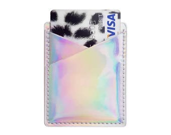 Silver Holographic Rainbow Multicolor Iridescent Metallic Double Pocket Adhesive Card Holder Stick On Cell Phone Wallet