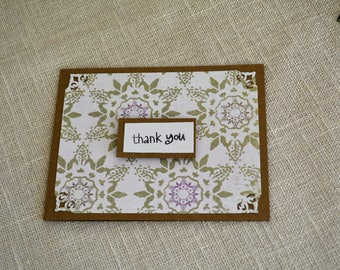 Set of (12) Thank You cards, Homemade Thank You cards, Blank Thank You cards, Floral Thank You cards, Purple and Green cards