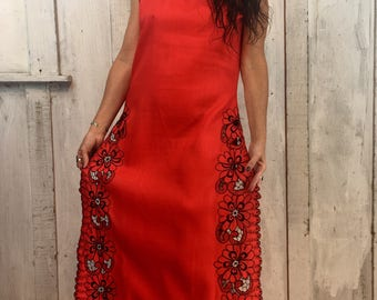 Vintage Cotton Maxi Dress// Maxi Gown Handmade// Red Cotton Maxi Dress// 1970's Dress