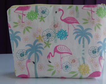 Flamingo makeup bag, cosmetics bag, toiletries bag