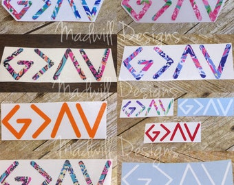 God is Greater than the highs and lows decal - great for laptops, phone cases, cars, etc! Choose size & color - patterned vinyl or regular
